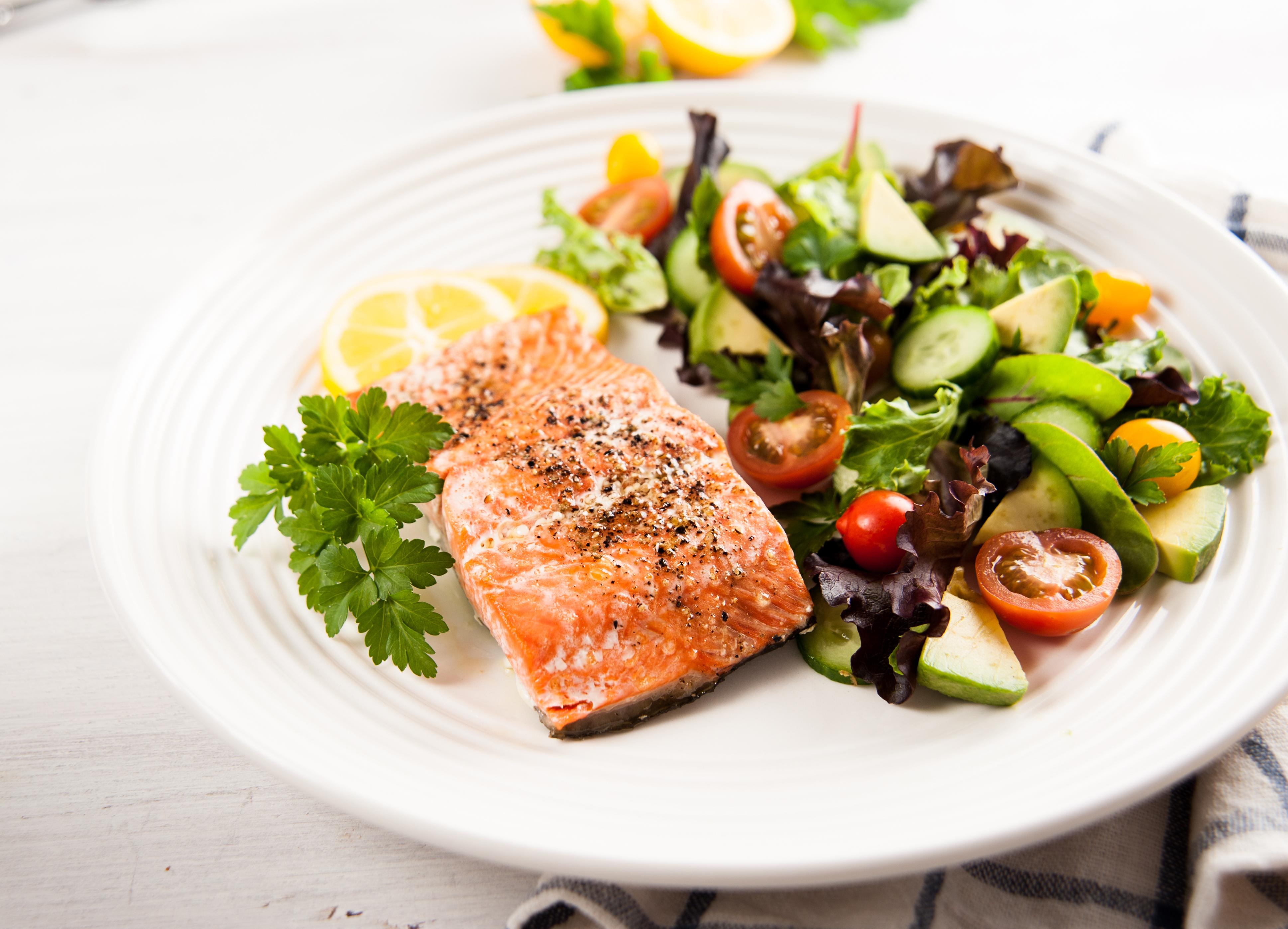 Grilled Mediterranean Salmon with Avocado Broccoli side salad