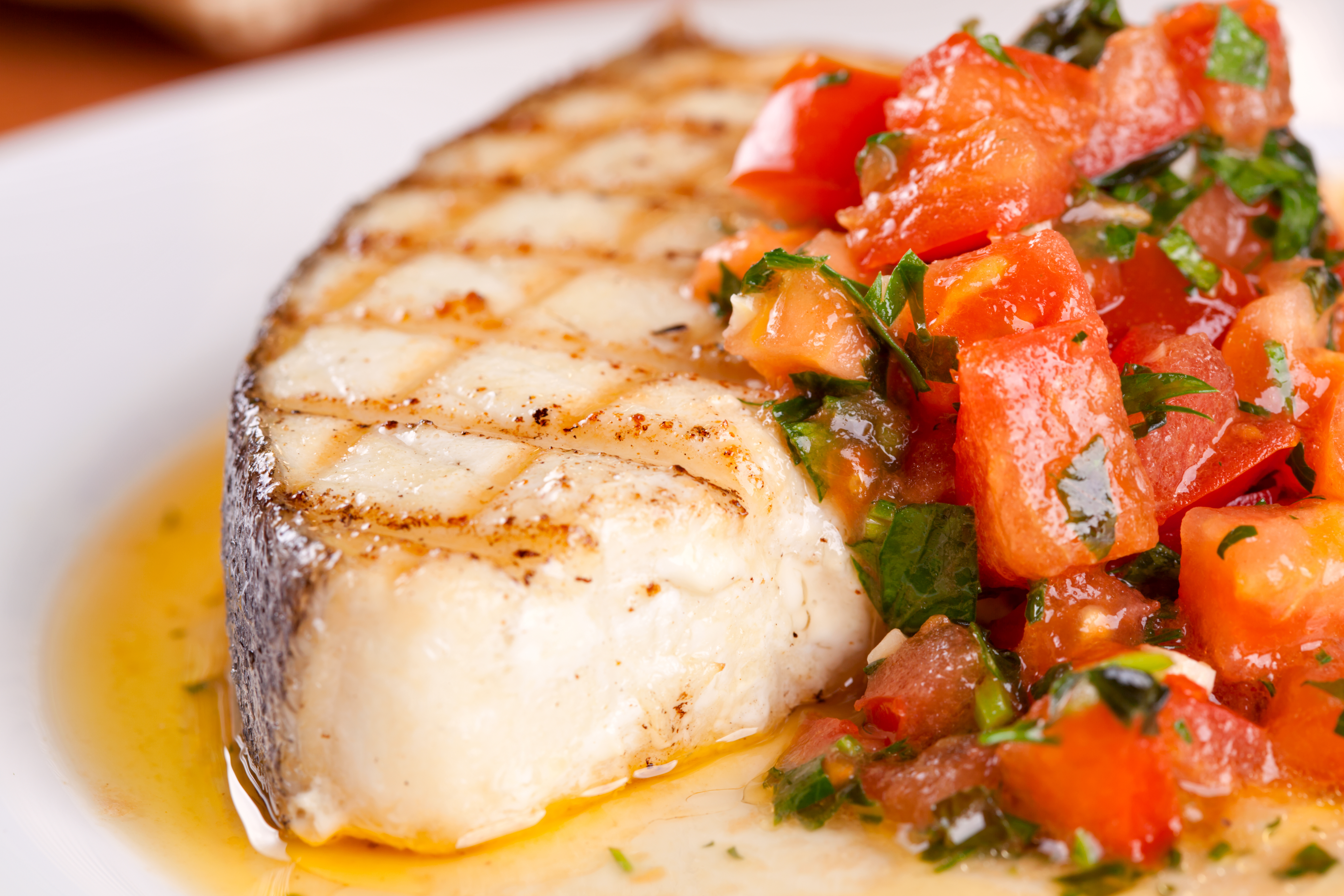 Chargrilled Halibut with  Tomato and Avocado Salsa