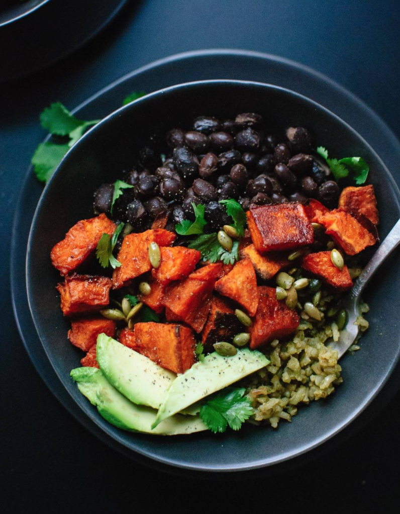Dr. Dave's Favorite Sweet Potato and Green Rice Bowl